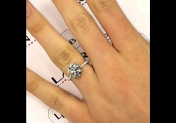 3 carat Round Diamond Engagement Ring with a Diamond Scarf Wrap