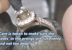 Setting a HALO diamond engagement ring.